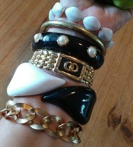 6 Black, white and gold bangles & chain bracelets